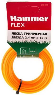 Леска триммерная Hammer Flex 216-415 на подвесе, 2.4мм*15м, звезда медаль полиглоту всея руси