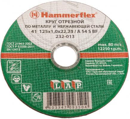 125 x 1.0 x 22,23 A 54 S BF Круг отрезной Hammer Flex 232-031 SKIN упак. 5 шт. по мет. и нерж. круг отрезной hammer 150х2х22 упак 200 шт