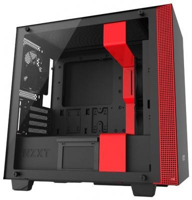 Корпус microATX NZXT H400 Без БП чёрный красный (CA-H400B-BR)