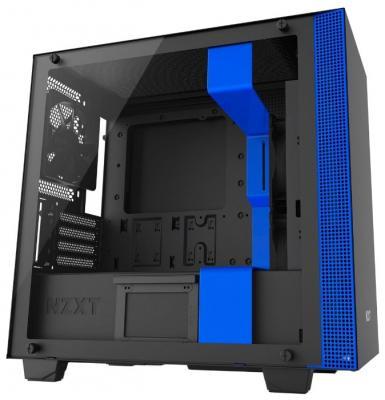 Корпус microATX NZXT H400 Без БП чёрный синий (CA-H400B-BL)
