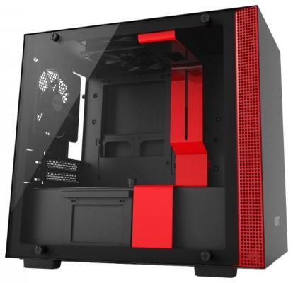 Корпус mini-ITX NZXT H200 Без БП чёрный красный (CA-H200B-BR) корпус nzxt s340 черный красный без бп