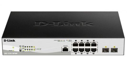 Фото - Коммутатор D-Link DGS-1210-10P/ME/B1A 8G 2SFP 8PoE управляемый коммутатор d link управляемый dgs 1210 52mpp me b1a