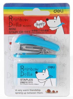 Степлер Deli E0253 Mini N10 (12листов) ассорти 40скоб блистер deli 0321 mini type stapler white