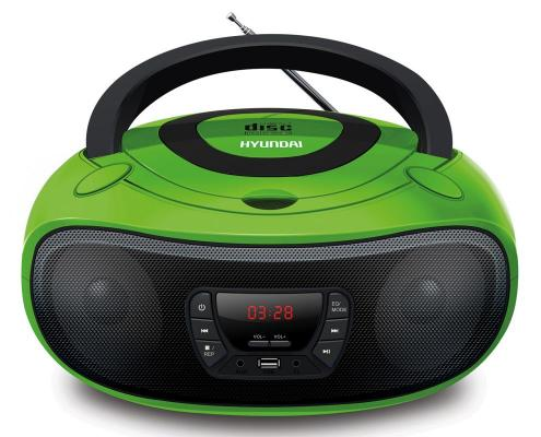 Аудиомагнитола Hyundai H-PCD260 зеленый/черный 4Вт/CD/CDRW/MP3/FM(dig)/USB/SD/MMC/microSD цена