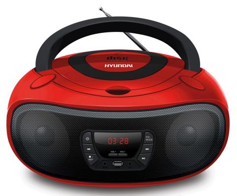 Аудиомагнитола Hyundai H-PCD280 красный/черный 4Вт/CD/CDRW/MP3/FM(dig)/USB/SD/MMC/microSD цена
