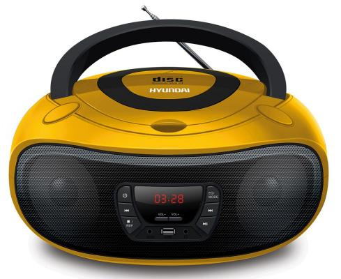 Аудиомагнитола Hyundai H-PCD300 желтый/черный 4Вт/CD/CDRW/MP3/FM(dig)/USB/SD/MMC/microSD цена