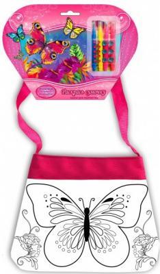 Купить Сумочка для росписи MultiArt Цветы&Бабочки, с фломастерами и стразами на блистере в кор.50шт, Раскрась сумочку