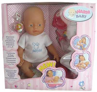 Купить Пупс WARM BABY ПУПС 43 см писающая пьющая B1425488, пластик, текстиль, Интерактивные куклы