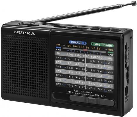 Радиоприемник портативный Supra ST-15U черный USB SD радиоприемник supra st 125 черный