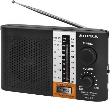Радиоприемник портативный Supra ST-19 черный радиоприемник supra st 125 черный