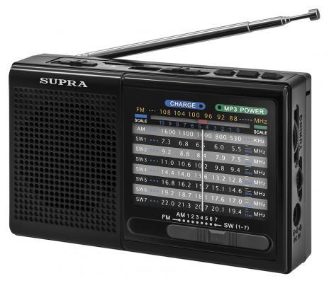 Радиоприемник портативный Supra ST-21UR черный USB SD радиоприемник supra st 125 черный