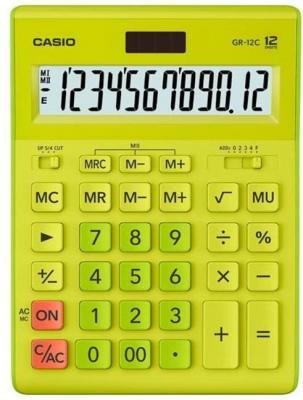 Калькулятор настольный Casio GR-12C-GN салатовый 12-разр. калькулятор casio gr 12c gn 12 разрядный салатовый
