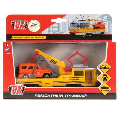 Трамвай Технопарк ТРАМВАЙ РЕМ. желтый SB-17-73-B+UAZ-WB игрушка технопарк uaz hunter с квадроциклом в прицепе sb 17 77wb