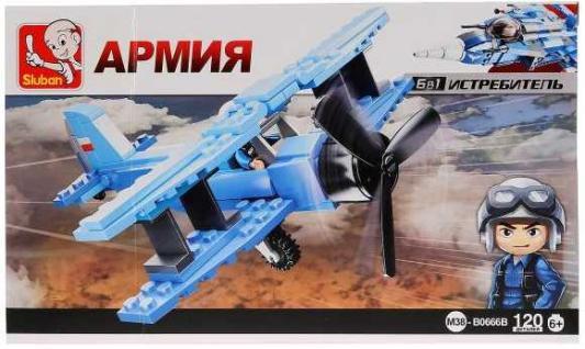 Конструктор SLUBAN Военный самолет 120 элементов M38-B0666B конструктор sluban космический трансформер военный самолет 331 элемент m38 b0257