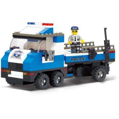 Конструктор SLUBAN Автомобиль для перевозки катера 202 элемента конструктор bela автомобиль для перевозки заключённых 60043 10418