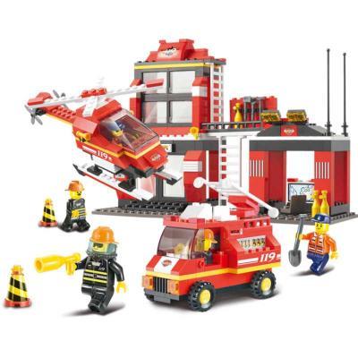 Конструктор SLUBAN Пожарная часть с вертолетом 371 элемент M38-B0225 футболка только вертолетом