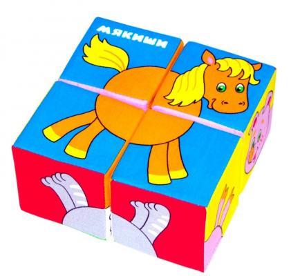Купить Кубики МЯКИШИ Собери картинку Животные от 1 года 4 шт, Кубики и стенки