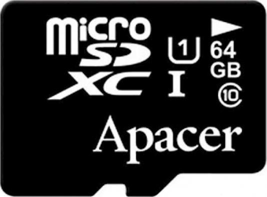Micro SecureDigital 64Gb Apacer AP64GMCSX10U1-R {MicroSDHC Class 10 UHS-I U1, SD adapter} leef leef pro microsdxc class 10 uhs i u1 64gb sd adapter