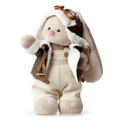 Купить Мягкая игрушка BUDI BASA StS-037 Зайка Ми в куртке пилот (малый), белый, коричневый, бежевый, 25 см, искусственный мех, пластик, текстиль, Животные