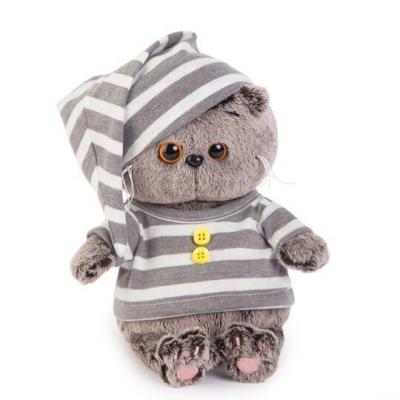 Купить Мягкая игрушка BUDI BASA BB-018 Басик BABY в пижамке, белый, серый, 20 см, искусственный мех, пластик, текстиль, Животные