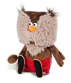 Купить Мягкая игрушка сова ДуRашки Сова & Coffee искусственный мех пластмасса наполнитель 25 см, разноцветный, искусственный мех, пластмасса, наполнитель, Животные