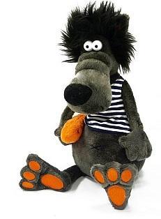 Купить Мягкая игрушка волк ДуRашки Волчок & Vobla искусственный мех пластмасса наполнитель 26 см, разноцветный, искусственный мех, пластмасса, наполнитель, Животные