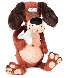 Купить Мягкая игрушка пёс ДуRашки Пёс & Kostochka искусственный мех пластмасса наполнитель 25 см, разноцветный, искусственный мех, пластмасса, наполнитель, Животные