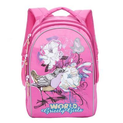 Купить Рюкзак GRIZZLY RG-868-2/1 Птицы (розовый), полиэстер, Ранцы, рюкзаки и сумки