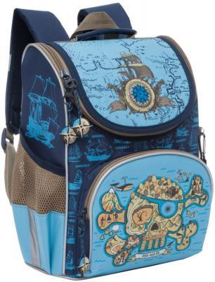 Рюкзак GRIZZLY RA-872-1/1 Череп (сине-голубой) с мешком для обуви рюкзак школьный grizzly ra 870 4 1