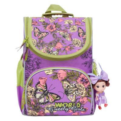 Купить Рюкзак GRIZZLY RA-873-4/1 Бабочки (лиловый) с мешком для обуви, фиолетовый, полиэстер, Ранцы, рюкзаки и сумки