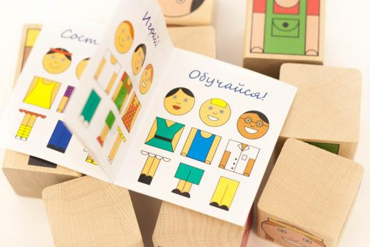 Купить Кубики КРАСНОКАМСКАЯ ИГРУШКА Смешные человечки от 3 лет 9 шт, Кубики и стенки