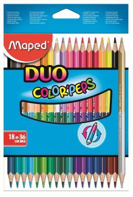 Набор цветных карандашей Maped Color Peps 18 шт двухсторонние 829601 карандаши набор 15цв maped мапед color peps в пластиковом пенале