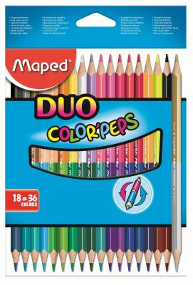 Набор цветных карандашей Maped Color Peps 18 шт двухсторонние 829601 maped набор цветных карандашей color pep s jumbo 18 цветов