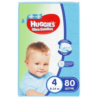 Купить HUGGIES Подгузники Ultra Comfort Размер 4 8-14кг 80шт для мальчиков, дышащие, Подгузники и трусики подгузники