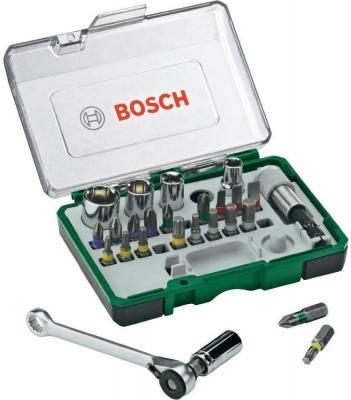 Мини-набор насадок-бит BOSCH (2.607.017.331) с ключем-трещеткой 27 шт.+ ручная отвертка bosch bosch 10 zhi отвертка головы set easy успеха зеленый [6949509201188]