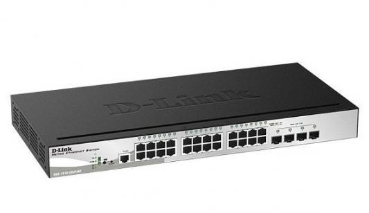 Коммутатор D-Link DGS-1510-28LP/ME 24G 2SFP 2SFP+ 24PoE 193W управляемый коммутатор hpe 1820 24g poe 24g 2sfp 12poe 185w управляемый j9983a