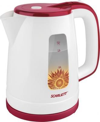 Чайник электрический Scarlett SC-EK18P37 1.7л. 2200Вт белый/красный чайник электрический scarlett sc ek18p15 красный