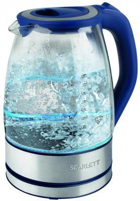Чайник электрический Scarlett SC-EK27G46 2л. 2200Вт синий (корпус: стекло) playmobil® зоопарк носорог с носорожком playmobil