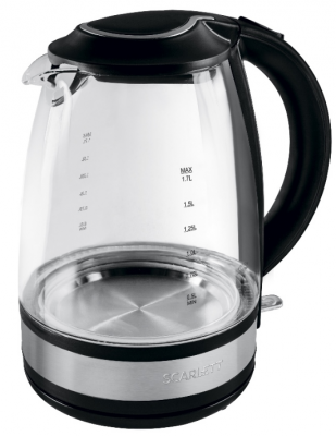 Чайник электрический Scarlett SC-EK27G31 1.7л. 2200Вт черный (корпус: стекло) чайник scarlett sc ek21s32 2200вт 1 7л металл