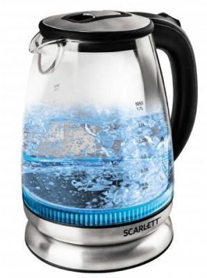 цена на Чайник электрический Scarlett SC-EK27G22 1.7л. 2000Вт черный/серебристый (корпус: стекло)