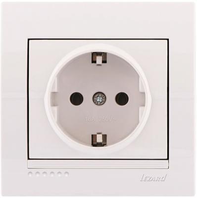 Розетка LEZARD 702-0202-122 с/з керамика серия скр.проводки Дери белый