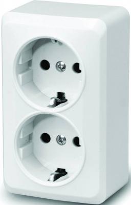 Розетка MAKEL Siva Ustu открытой установки, двухместная, с заземлением, белая, 16А IP20 (45182) цена