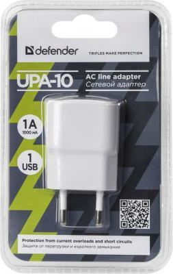 Сетевое зарядное устройство Defender UPA-10 1A белый 83540 зарядное устройство зарядное устройство сетевое qtek s200 htc p3300 ainy 1a