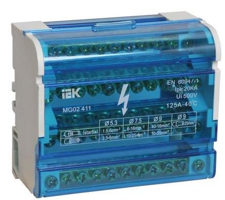 Iek YND10-4-11-125 Шины на DIN-рейку в корпусе (кросс-модуль) ШНК 4х11 3L+PEN ИЭК расцепитель минимального максимального напряжения рмм47 на din рейку iek mva01d rmm 312297