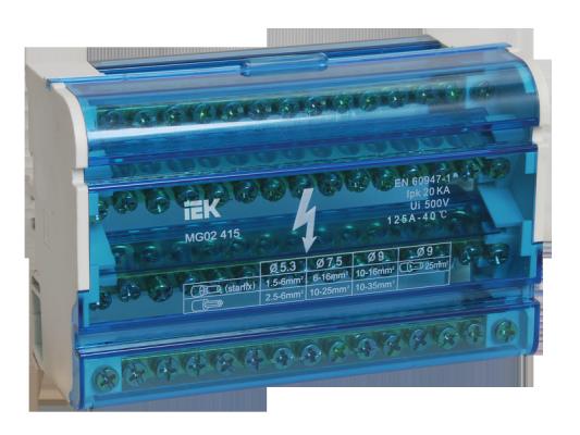 Iek YND10-4-15-125 Шины на DIN-рейку в корпусе (кросс-модуль) ШНК 4х15 3L+PEN ИЭК расцепитель минимального максимального напряжения рмм47 на din рейку iek mva01d rmm 312297