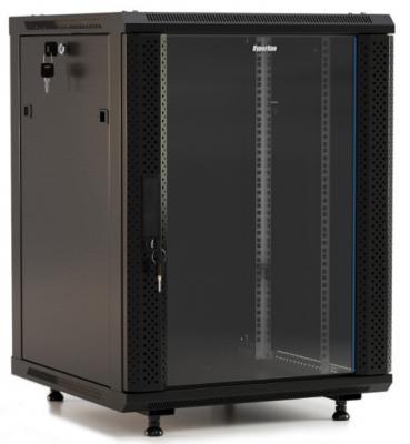 """Hyperline TWB-1566-GP-RAL9004 Шкаф настенный 19-дюймовый (19""""), 15U, 775x 600х 600мм, стеклянная дверь с перфорацией по бокам, ручка с замком, цвет черный (RAL 9004) (разобранный)"""