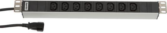 Hyperline SHT19-8IEC-2.5IEC Блок розеток для 19 шкафов, горизонтальный, 8 IEC 320, 10 A, шнур 2.5м