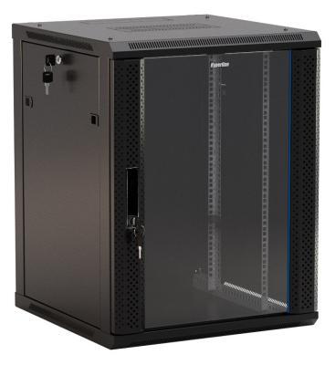 """Hyperline TWB-1245-GP-RAL9004 Шкаф настенный 19-дюймовый (19""""), 12U, 650x 600х 450мм, стеклянная дверь с перфорацией по бокам, ручка с замком, цвет черный (RAL 9004) (разобранный)"""