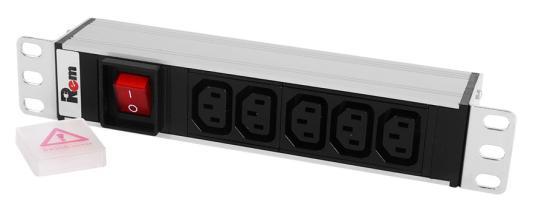 ЦМО Блок розеток Rem-10 без шнура с выкл., 5 IEC 60320 C13, вход IEC 60320 C14, 10A, алюм., 10 (R-10-5C13-V-220-Z) блок силовых розеток 19 черный 1u 10 розеток iec 320 c13 вход iec 320 c14 nt soc p 10b