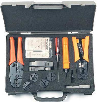 Hyperline HT-4015 Набор инструментов для инсталляции сети (инструмент обжимной для RJ-45/12/11, инструмент обжимной для RG-6/8/11/58/59/62/174/179, обрезка, зачистка набор инструментов hyperline ht ntk160 23370